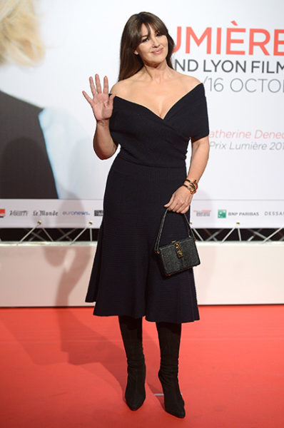 LYON, FRANCE - OCTOBER 08:  Monica Bellucci attends the 8th Film Festival Lumiere In Lyon : Opening Ceremony on October 8, 2016 in Lyon, France.  (Photo by Dominique Charriau/Getty Images)